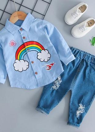 ✍🏻мега крутой костюм на малышей ✍🏻рубашка + джинсы