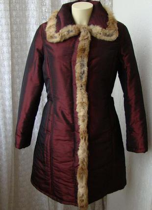 Пуховик женский на синтепоне куртка теплая мех кролик бренд mi...