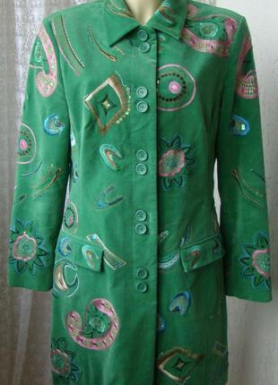 Пальто женское модное яркое стильное с декором демисезонное бр...