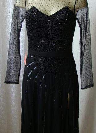 Платье женское черное шикарное вечернее вышивка бисер гипюр ми...
