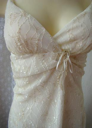Платье нарядное сарафан гипюр золото стрейч бренд quiz р.46