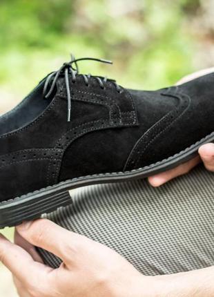 Мужские туфли броги натуральный замш