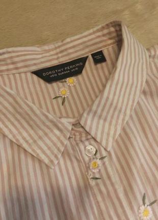 Рубашка в полоску вышивка ромашки размер 16 dorothy perkins