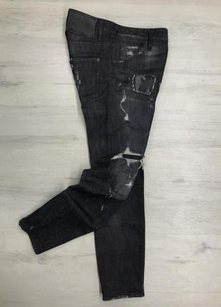 Dsquared black denim distressed cropped jeans women's
