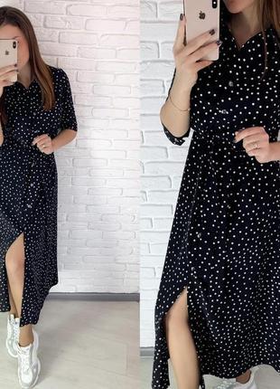 Платье женское в горошек мелкий короткий рукав ниже колена черное