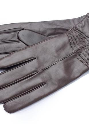 Женские кожаные перчатки темно- коричневые