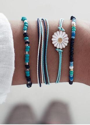 Набор браслетов 4 штуки ( браслет с подвеской ромашка, браслет...