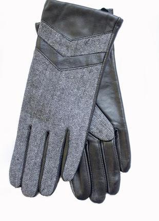 Женские перчатки комбинированные ткань + кожа