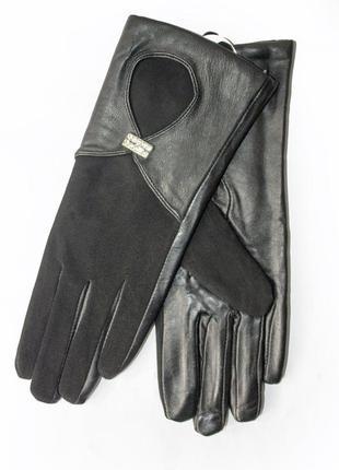 Женские перчатки комбинированные кожа + замш