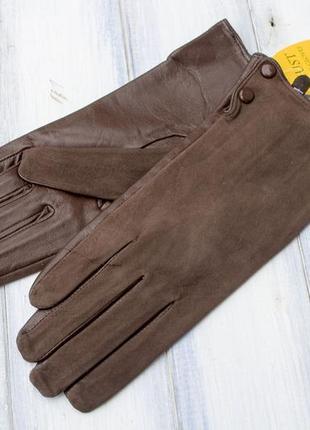 Женские комбинированные перчатки кожа +замша