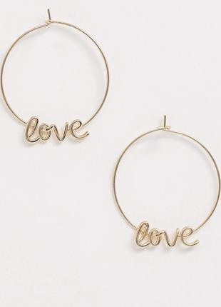 Акція 1+1=3💕стильні золотисті сережки кільця love, серьги коль...