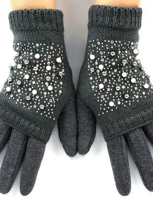 Женские перчатки стрейчевые + митенки сенсорные