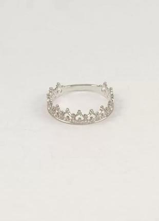 Колечко серебряное корона
