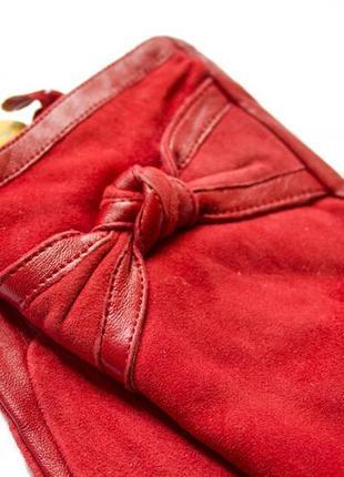 Женские комбинированные перчатки кожа и замша