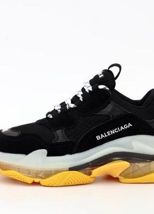 Баленсиага кожаные женские кроссовки на массивной подошве (вес...