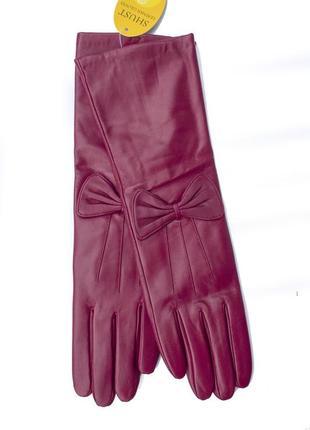 Женские  кожаные перчатки длинные 34см