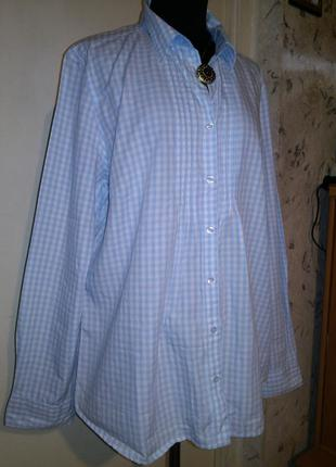 Натуральная-хлопок,нежно-голубая в клетку блузка-рубашка,больш...