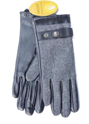 Женские перчатки комбинированные кожа+ткань