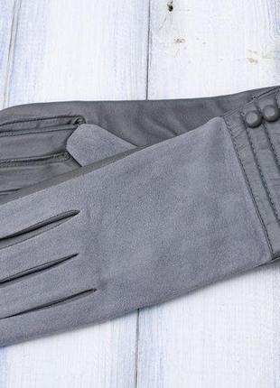 Женские комбинированные перчатки кожа+замша