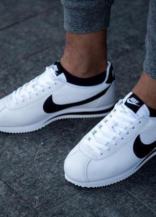 Nike cortez classic leather white/black🔺мужские кроссовки найк...