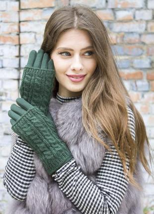 Женские перчатки стрейчевые + митенки