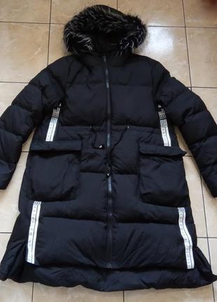 Стильный стеганый пуховик р.xl натуральный пух, длинная куртка...