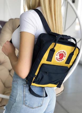 Рюкзак fjallraven kanken mini 7 l black yellow купить фьялраве...