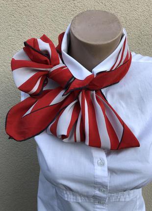 Винтаж,шёлк,платок,косынка,красный в полоску,премиум бренд.