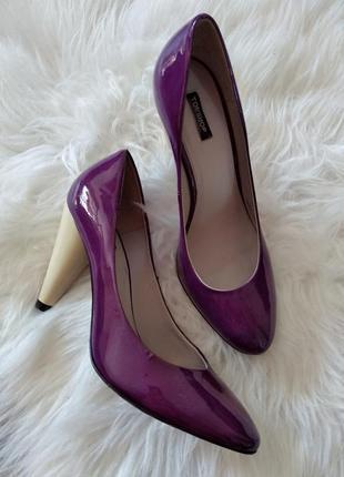 Кожаные туфли лодочки из натуральной кожи лаковые