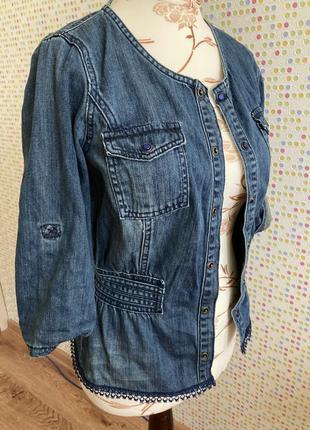 Блуза джинсовая на кнопках джинс
