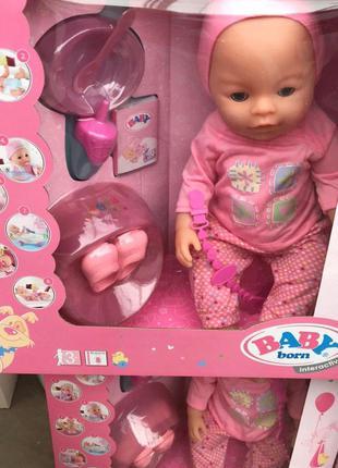 Пупс Baby Born Беби Борн BLB-003 9 функций, кнопка пупок, памперс