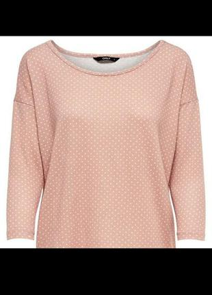 Свободная трикотажная кофта блуза пуловер свитшот в горох