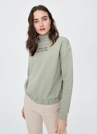 Оливковый💚 свитер с рукавом реглан и резинкой