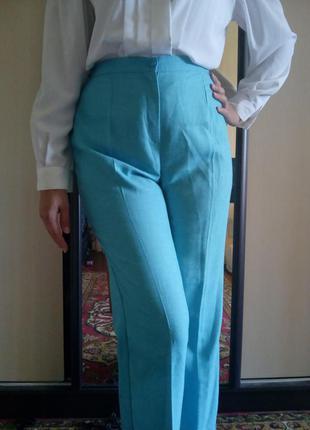 Новые льняные классические брюки с завышенной талией голубого ...