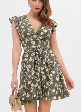 Платье хаки в цветок ❀