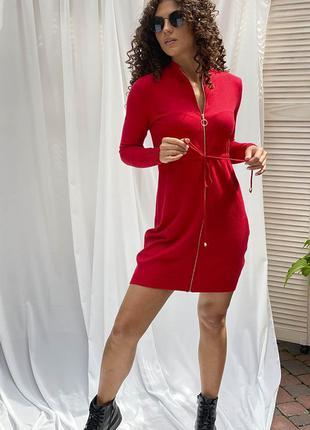 Стильное платье с молнией и длинным рукавом красного цвета ❀