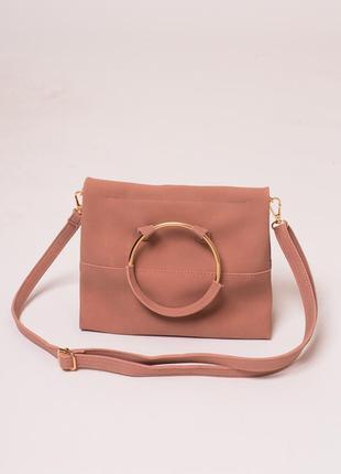 Женская сумка с ручкой кольцом цвета пудры ❀
