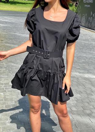 Трендовое женское платье с рукавами-фонариками и поясом чёрног...