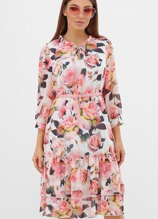 Белое платье в окрас роз ❀