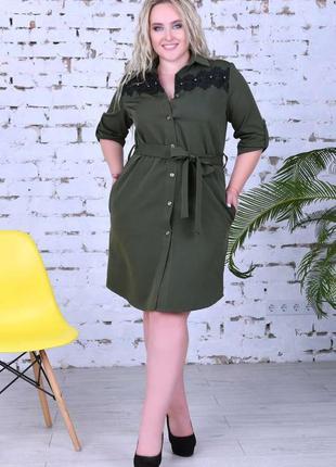 Строгое платье-рубашка больших размеров цвет хаки skl11-259270