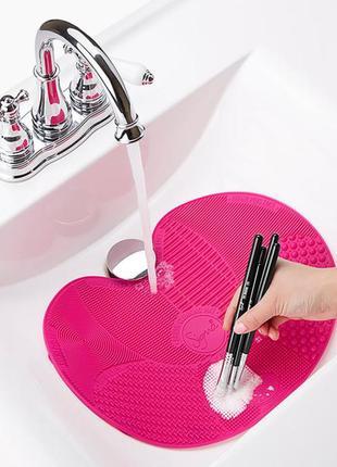 Силиконовый коврик для очистки косметических кистей spa brush ...
