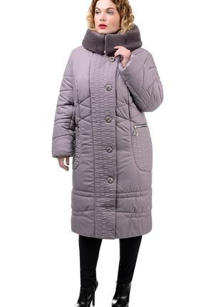 Зимняя куртка пуховик пальто с мехом капюшоном большой размер 62