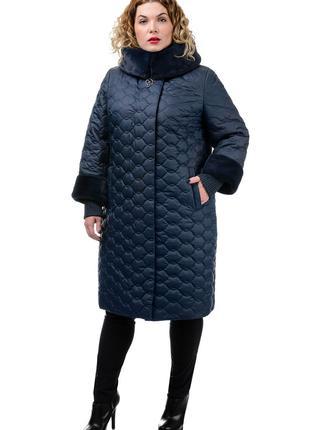Зимняя куртка пуховик пальто с мехом капюшоном большой размер