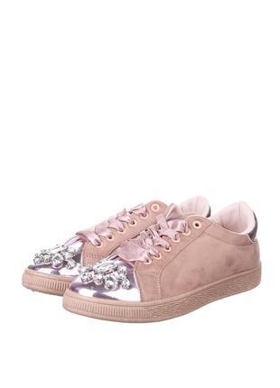 Кеды ботинки туфли кроссовки со стразами пудровые розовые