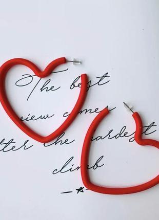 Серьги сережки сердца красные
