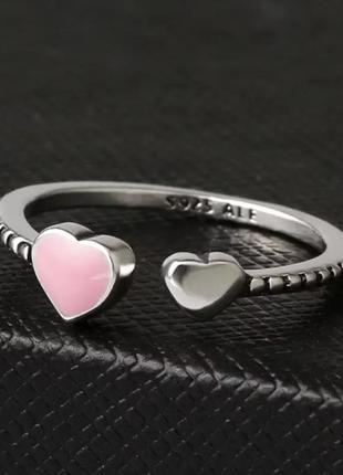 Кольцо серебряное925 безразмерное с сердцами