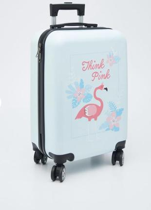 Чемодан на колёсах розовый фламинго