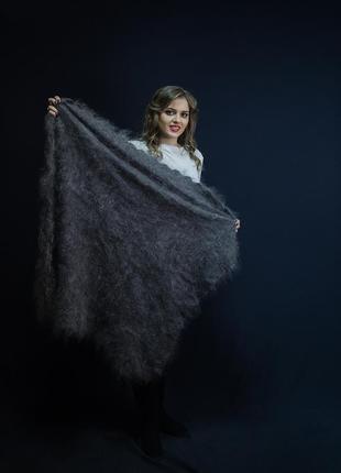 Оренбургский серый пуховой платок джамалия 100*100 см