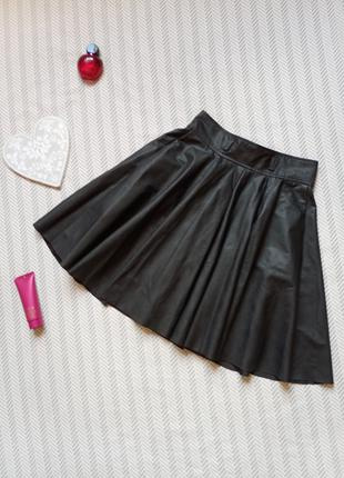 Юбка на девочку ЭКО кожа с карманами