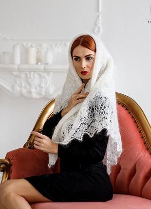 Оренбургский молочный пуховый платок аврора 110 см 499.2